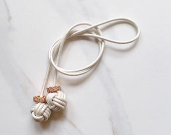 Monkey Fist Knot Pearl Leather Bookmark with Crystal Beads for your Traveler's Notebook, Planner, or Book - Made to Order