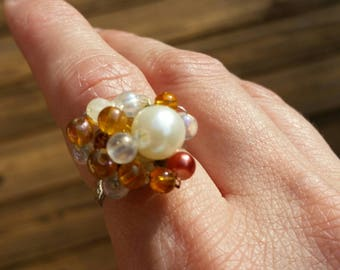 Statement ring, beaded ring, amber and pearl ring, gold ring, adjustable ring
