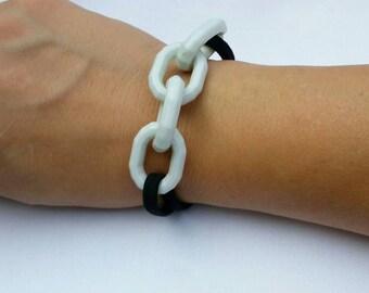 Hair tie bracelet, pale blue hair band bracelet, wood bead hair elastic, chain link ponytail holder