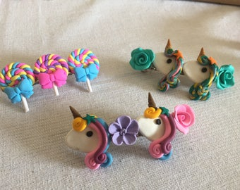 Hair clips, barrette clips, hair accessories, polymer clay clips