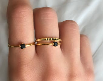 Black Stone Ring. Dainty Gold Ring. Black Cz Ring. Stackable Ring. Minimalist Ring