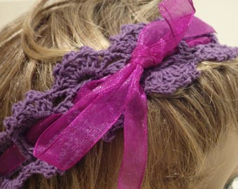 Girls Purple Crochet Headband