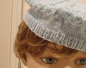 Sea Blue Knitted Beret