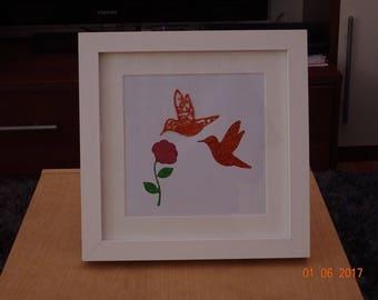 Hummingbird stencil print frame