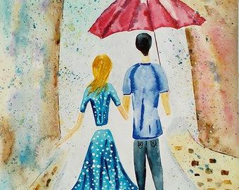 Dancing under the rain- 30.5*43 cm watercolor