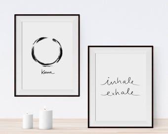 Yoga gift, Yoga set of prints, Inhale Exhale print, Karma Print, Mindfulness poster, Motivational poster, PRINTABLE art, yoga printable set