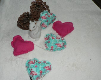 Garland of hearts fabric to hang - hanging decoration - Flamingo pattern