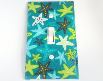 Starfish Switchplate, Switch Plate, Ocean Beach, Light Switch Cover, Under the Sea, Outlet Cover, Green Blue Beach Decor, Wall Plates Decor