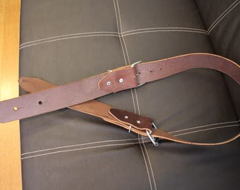 """Handmade Leather Guitar Strap ~Brown~ 2"""" Wide"""