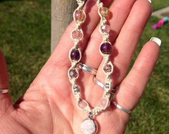 Pink druzy stone hemp beaded necklace