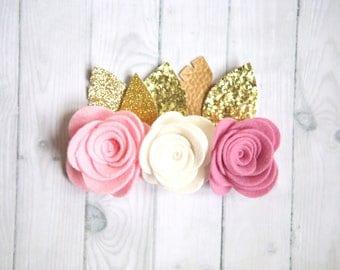 Wild One birthday crown, Pink Baby flower crown, Feather crown, Toddler flower crown, Felt Flower Crown, Baby Headband, Boho baby headband