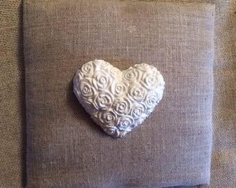 White plaster heart decoration