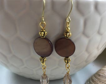 Brown Mother of  Pearl Shell Swarovski Crystal Dangle/Drop Earrings 18ct Gold PlateWires