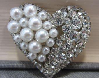Eisenberg Ice Rhinestone & Faux Pearl Heart Brooch