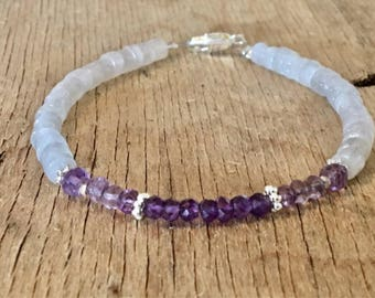 Amethyst Bracelet Amethyst Beaded Bracelets Mother's Day Gift Mom Gift Womens February Birthstone Bed Bracelet Womens Gift Amethyst Jewelry