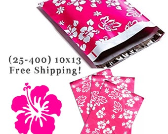 """FREE SHIPPING! (25-400 Pack) 10x13"""" Pink Hawaiian Designer Poly Mailers"""