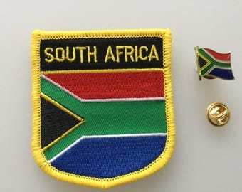 South Africa Shield Country Flag Embroidered Patch and Pin Badge Set