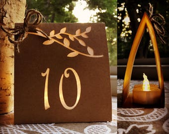 RUSTIC TABLE NUMBER Luminary with Bow