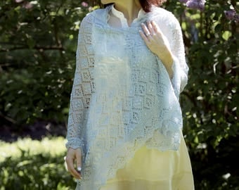 Light icy blue hand-knitted lace shawl