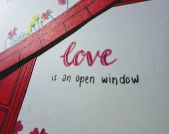 """Map """"love is to open window"""" (15 x 10, 5 cm)"""