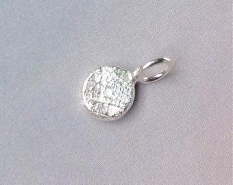 Petite Handmade Sterling Silver Pendant, Pebble Initial Pendant, Rustic Initial Pendant, Molten Silver, Monogram Pendant