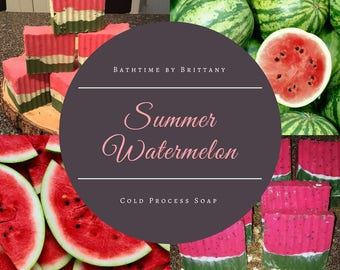 Watermelon Soap--Summer Fragrance--Cold Process Soap--Vegan--Fruit Soap--Layered Soap-Exfoliating Soap-Limited Time-Poppy Seed-Ready to Ship