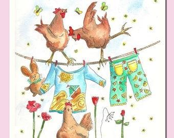 Birthday Card, Greetings Card, Chicken Card, Fun Greeting Card