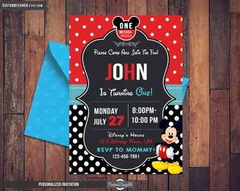 Mickey Mouse Invitation - Mickey Mouse Party Invitation - Mickey Mouse Printable - Mickey Birthday Party - Birthday Invitation - Digital