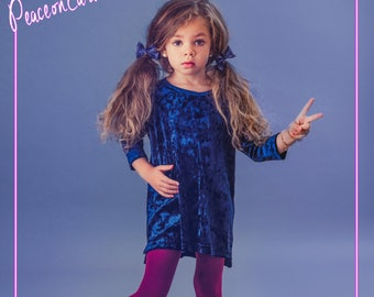 CLEARANCE- Baby Toddler Royal Blue Crushed Velvet Tunic Dress