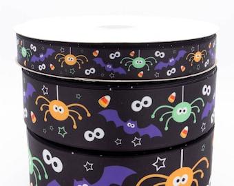 """Halloween Bats Spiders 3"""" 2"""" 1""""  (75mm 50mm 25mm) Grosgrain Ribbon per meter"""