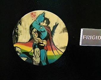 Gay Batman Refrigerator Magnet,  Batman & Superman Kissing, Rainbow Flag Art, Gay Batman Magnet, Gay Pride, Gay Superhero Art, Gay Pride Art