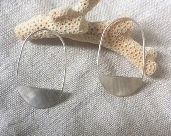 Half moon hook drop earrings in brushed sterling silver