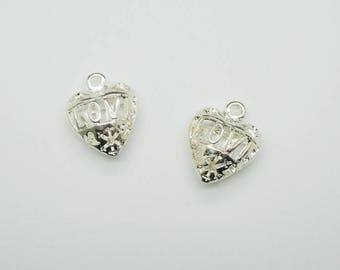 love 3D filigree heart charm silver plated (D28)