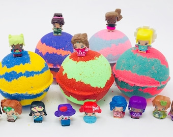 Sale! 3 or 5 7.0 oz Girls Doll Figures Bath Bomb Birthday Party Favor Set with Surprise Toy Inside.