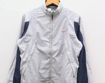 Vintage NIKE Small Logo Sportswear Gray Zipper Windbreaker Jacket Size L