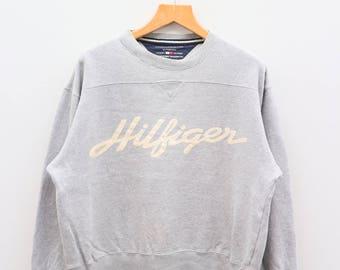 Vintage TOMMY HILFIGER Designer Big Spell Gray Sweater Sweatshirt Size S