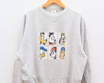 Vintage MICKEY MOUSE And Friends Disney Cartoon Animation Gray Sweater Sweatshirt Size M