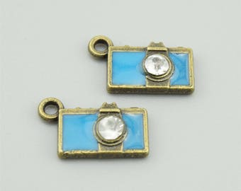 10pcs 15x9mm Blue Camera Charm Pendants LJ159A