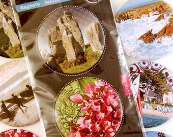 Photo deco round - hydrangeas magnets and menhirs Carnac