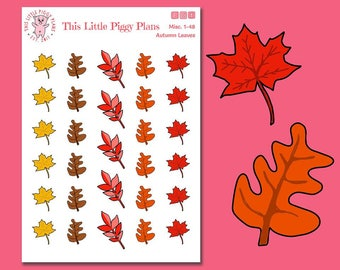 Autumn Leaves Icons Planner Stickers - Autumn Leaves Stickers - Leaves Planner Stickers - Autumn Stickers - Seasonal Stickers - [Misc 1-48]