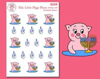 Hannukah Oinkers - Hannukah Planner Stickers - Menorah Stickers - Dreidel - Holiday Planner Stickers - Planner Stickers - [Holiday 1-06]