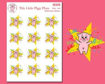 Celebration Time Oinkers Planner Stickers - This Little Piggy Celebrates - Pig Stickers - Planner Stickers [Misc. 1-69]