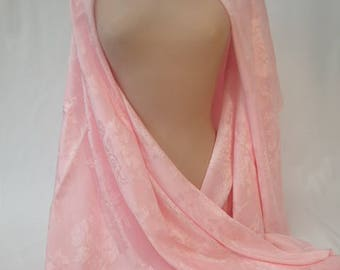 1950's Vintage Baby Pink Silk Shawl Wrap Scarf Oriental Floral
