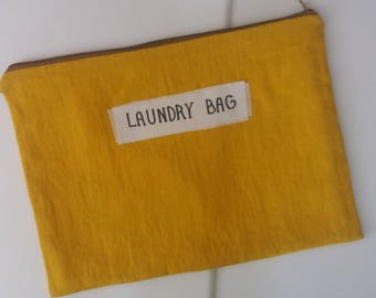 Laundry bag, Travel linen lingerie bag, Flax underwear travel bag, gift idea for man, for woman, natural organic eco, Diapers bag