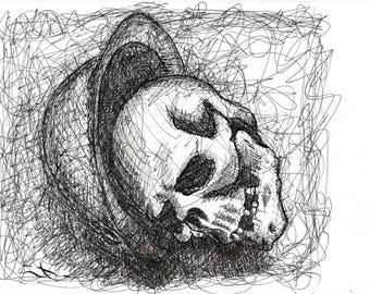 STUDY skull 14 18 - ink on paper
