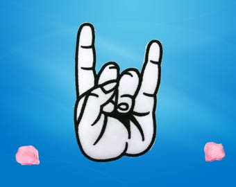 Hand Sign Rocker Patches Applique Embroidered Iron on Patch