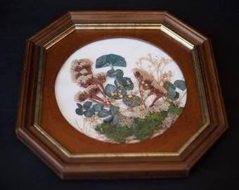 Vintage dried flowers frame wooden octagonal floral arrangement under frame, wall decor, home decor, vintage