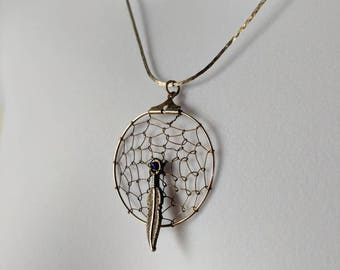 Rustic Gold Hue Dreamcatcher 1 Pendant Necklace on a flat metallic chain
