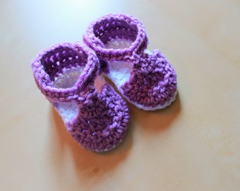 Simply Adorable U Handmade Crochet Purple/White T Bar Baby Girl Summer Sandals/Shoes
