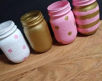 Pink and gold mason jar